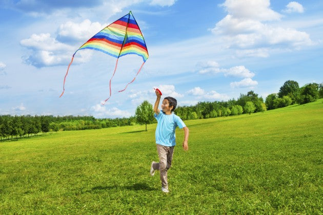 A boy playing on the grass with a striped multi-colour kite