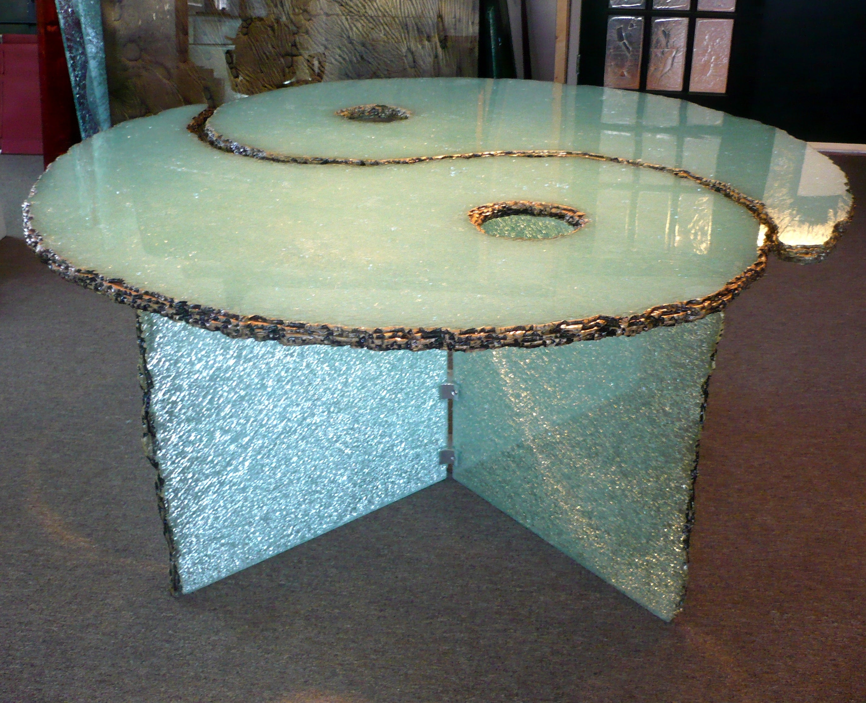 Yin and Yang crystallised glass table with matching base