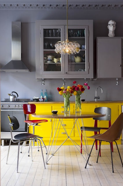 Grey kitchen with some units grey and other yellow