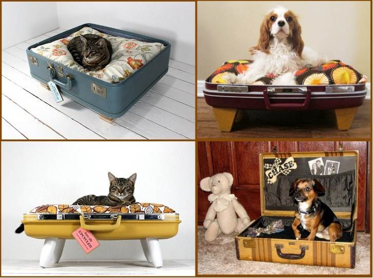 Collage of four different cat or dog suitcase beds