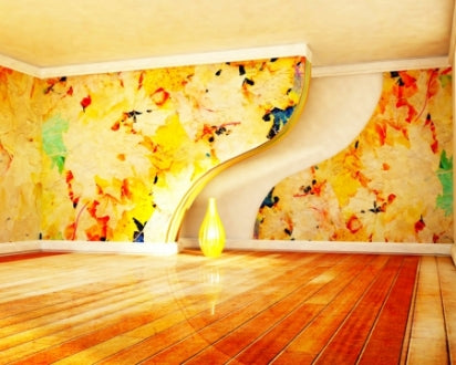 Bright yellow room with varnished wooden floor and yellow patterned wallpaper