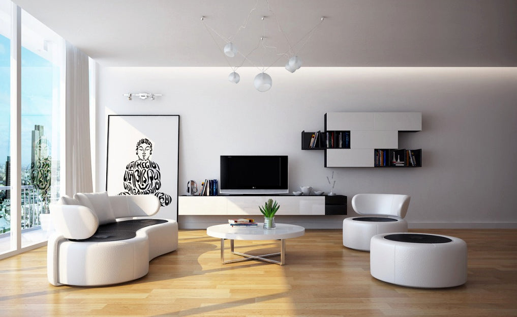 Contemporary Living Room-Furniture Set In White