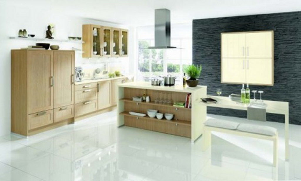 Cool Kitchen decor, with tiled floor and slate tiled wall