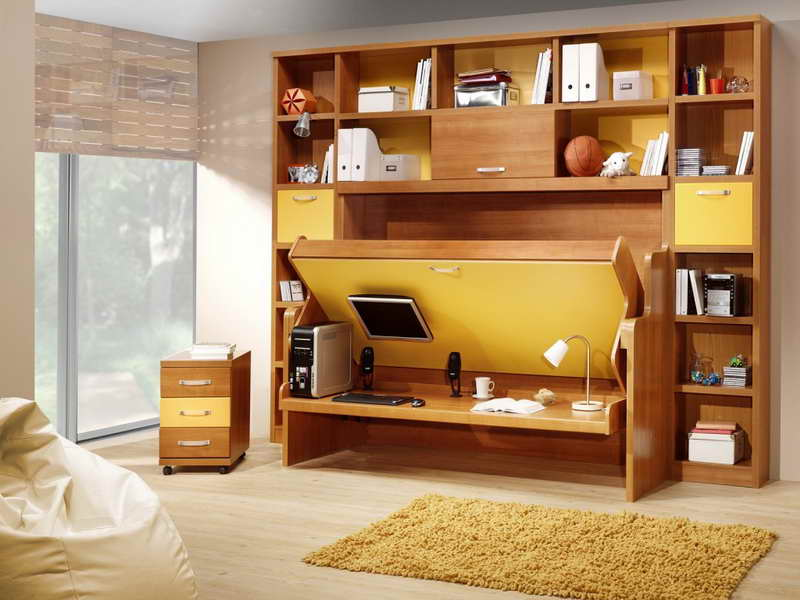 Desk and wall storage, fold out bed combination