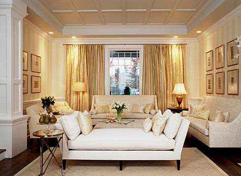 White and gold formal living room