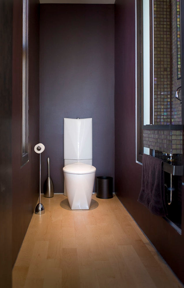 Narrow toilet in plum colour with small white toilet