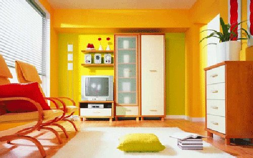 Bright orange, yellow and light green living room
