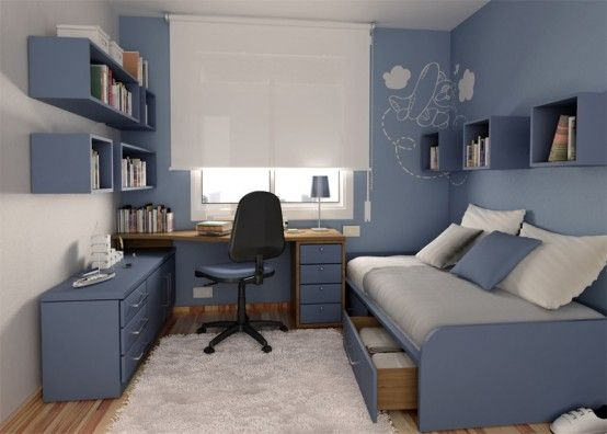 Blue and white guest room and office
