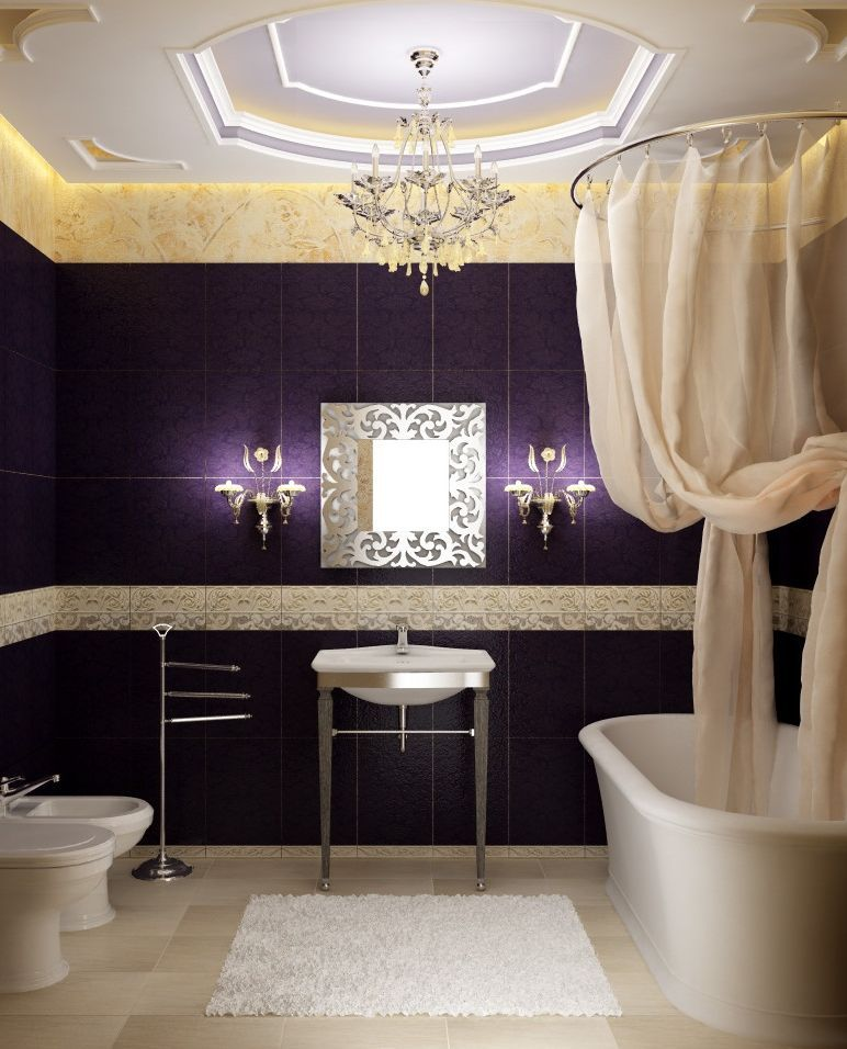 Dark purple and cream bathroom with white bathtub, sink, toilet and bidet