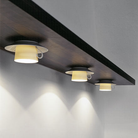 Under shelf lighting that are designed to looks like cups and saucers