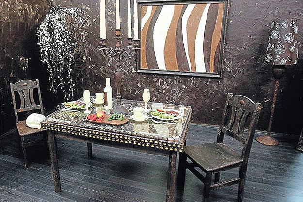 A room and its furniture made from chocolate