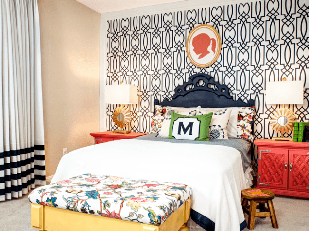 Modern and trendy kids bedroom with white bed and dark blue headboard