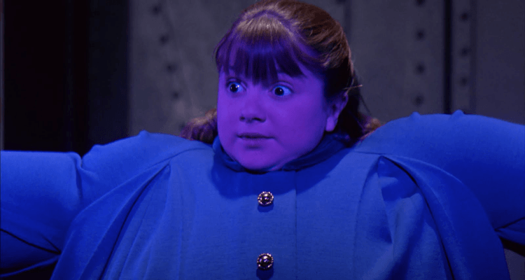 Violet Beauregarde actress from the Gene Wilder film, inflated like a blueberry