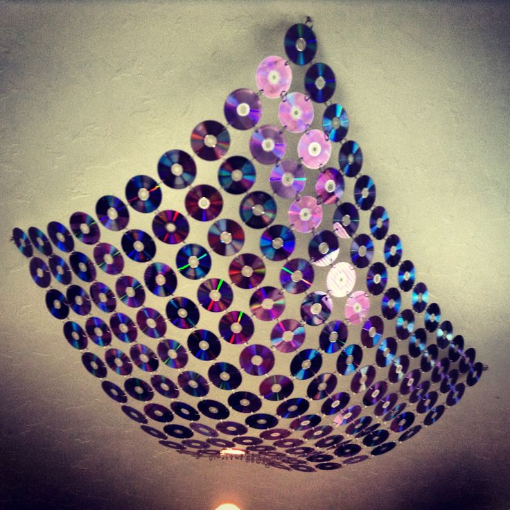 Ceiling canopy made from old CDs
