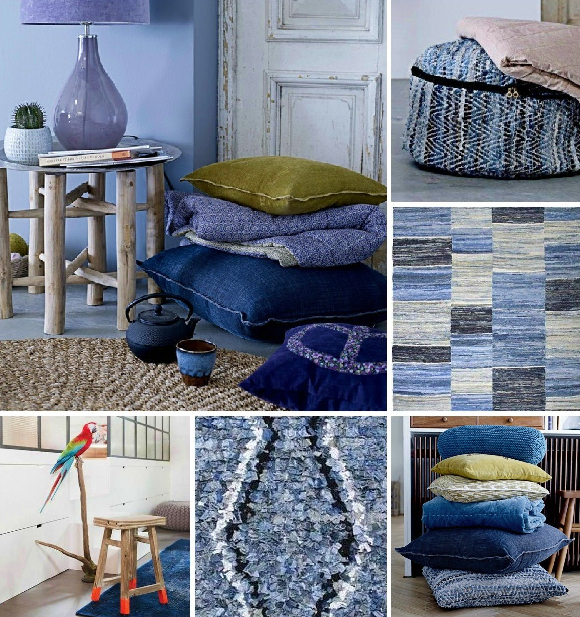Collage of denim used in the home with cushions, rugs, throws and fabric