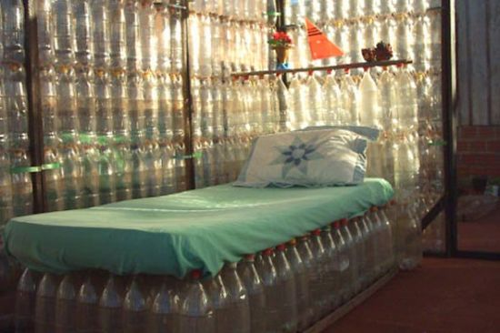 Recycled plastic bottles made into a bed and privacy wall
