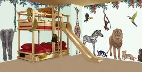Safari themed kids bedroom with wooden bunk bed and animal decals