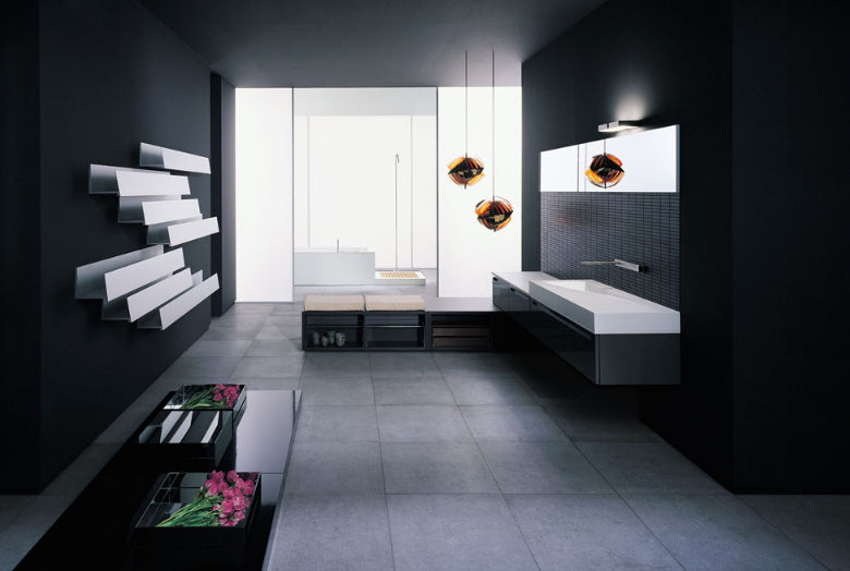 Black, white and grey modern bathroom