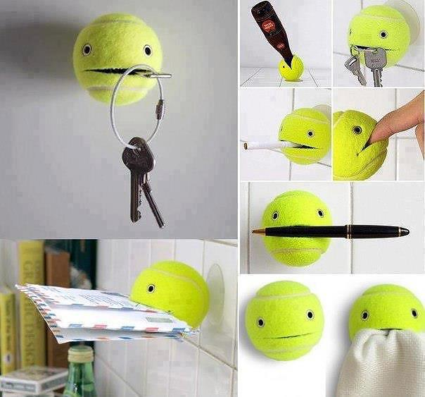 DIY holder for keys, post, pens and towels - made from a tennis ball