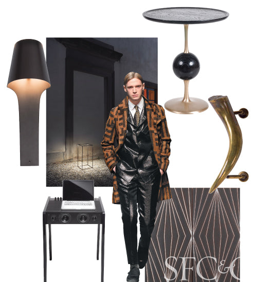 Collage of black and gold home accessories, and made wearing a brown jacket