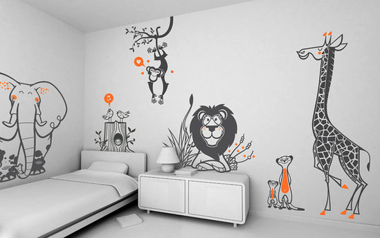 Grey and orange safari wall decals
