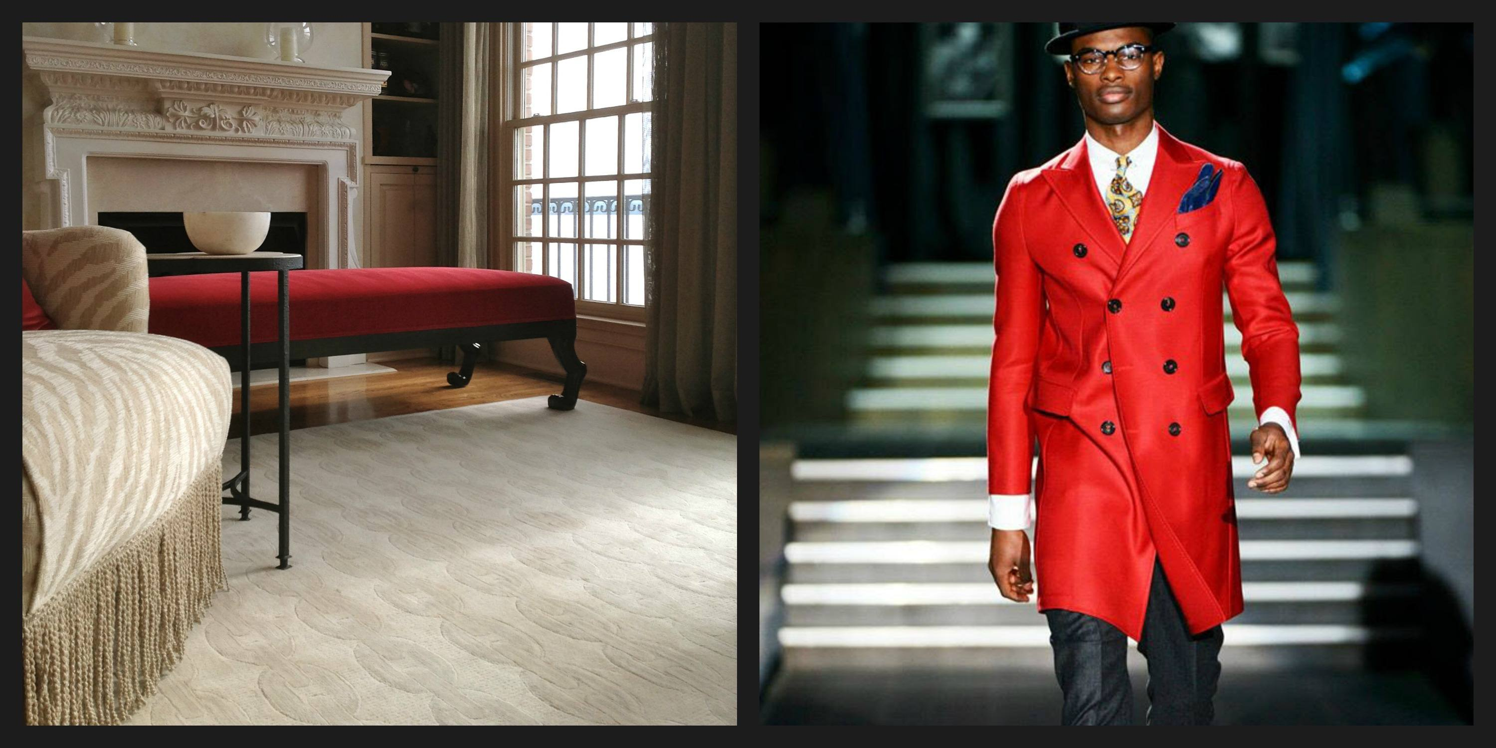 Red ottoman in a luxury cream living room, and man with bright red jacket