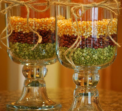 Thanksgiving glass trifle bowls filled with colourful seeds and beans