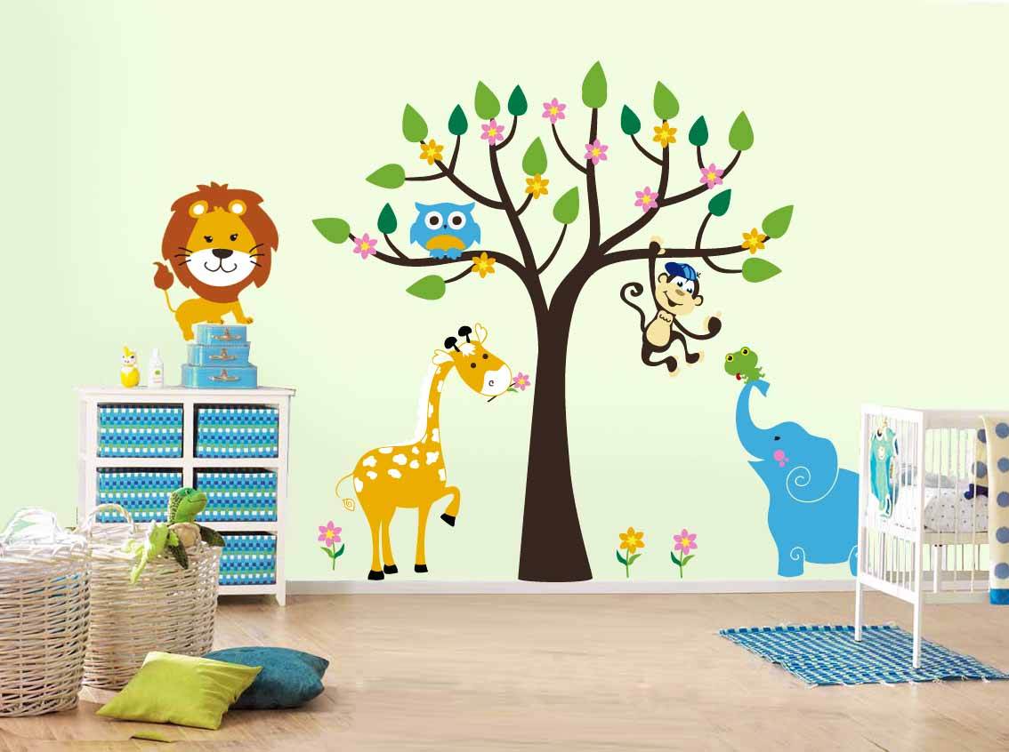 Light green bedroom for toddlers with cute animal decals