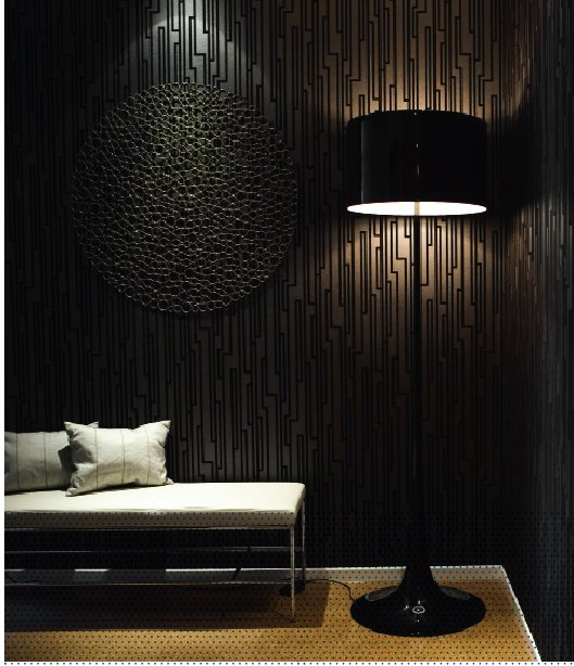 Dark brown living room with black floor lamp and accessories