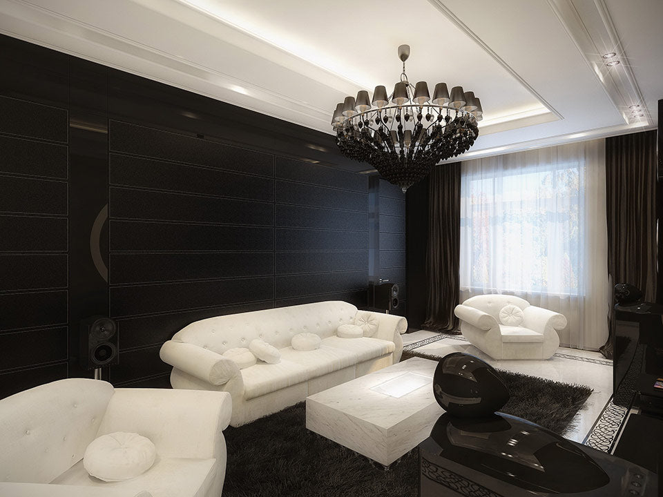 Comfortable white and black living room