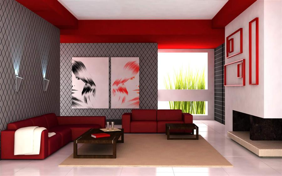 Red corner sofa and matching sofa in a grey, red and white living room