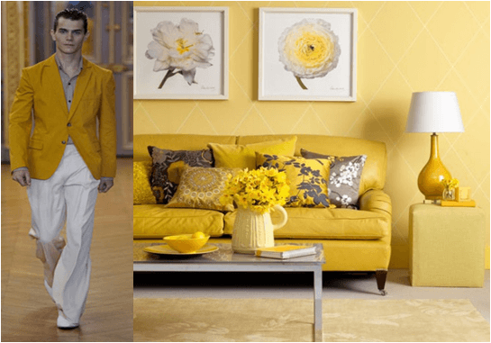 Bright yellow living room and man wearing a yellow jacket
