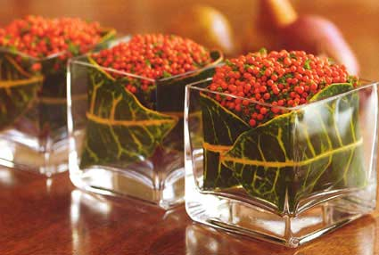 Square glasses on a table with leaves and red berries