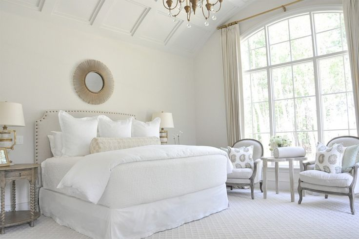 White and cream bedroom with touches of beige and gold
