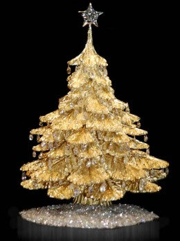 Gold table top Christmas tree ornament