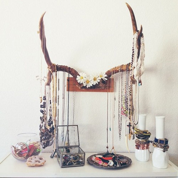 Antlers used as a jewellery holder