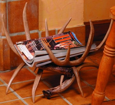 Antlers used to hold magazines