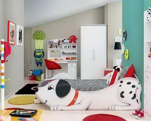 Childrens bedroom with kids bed design that looks like a dalmatian dog