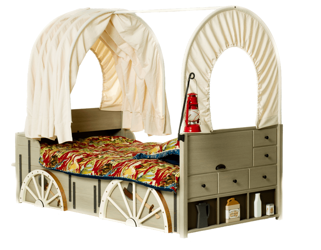 A wooden kids bed that looks like a horse and cart wagon with cream canopy