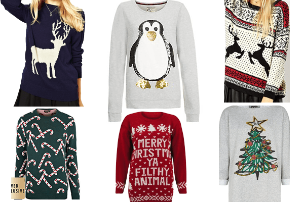 Collage of different Christmas jumpers