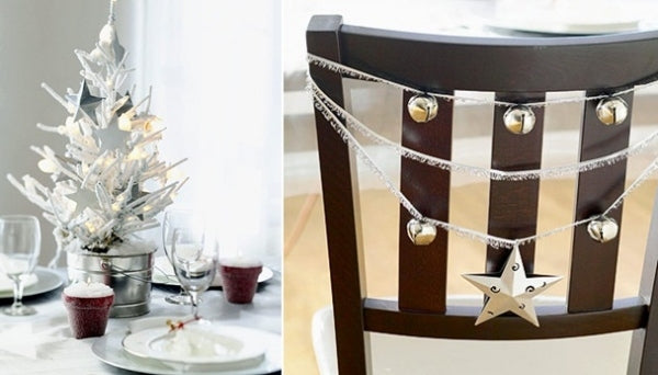 Silver string, silver jingle bells and star festive chair decorations
