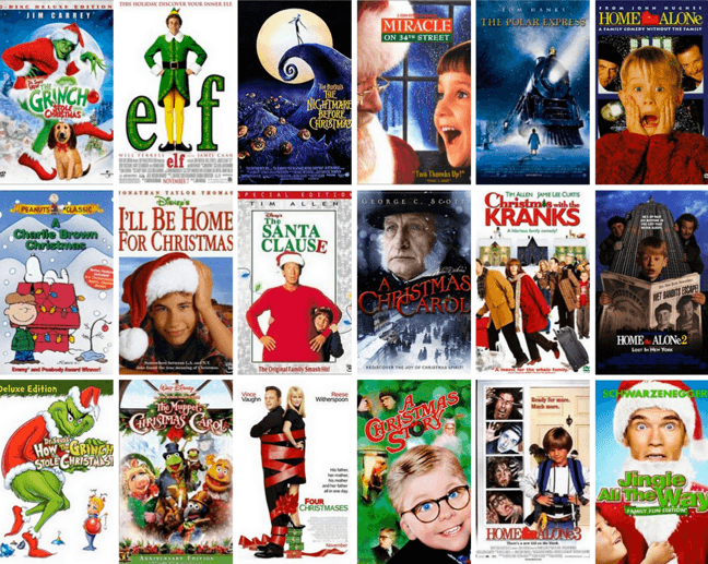 Collage of different Christmas movies