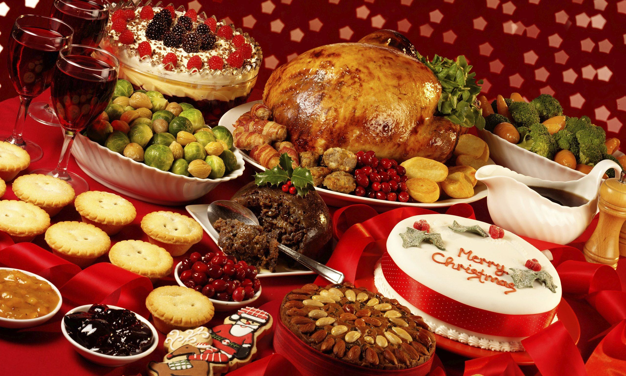 Traditional Christmas food in a red tablecloth