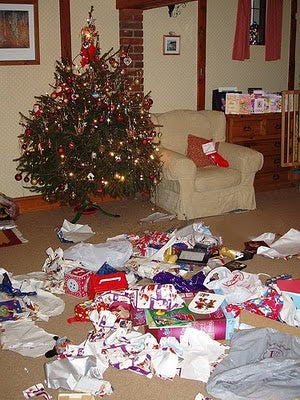 Unwrapped presents on Christmas morning
