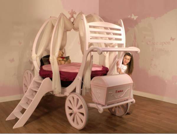 Childrens bespoke wooden bed that looks like Cinderellas carriage