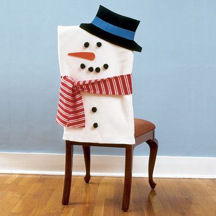 Chair cover themed to look like a snowman