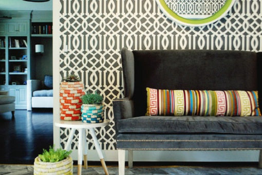 Contemporary geometric wallpaper in a living space