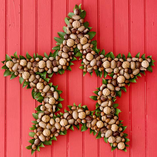 Christmas star made from different types of nuts