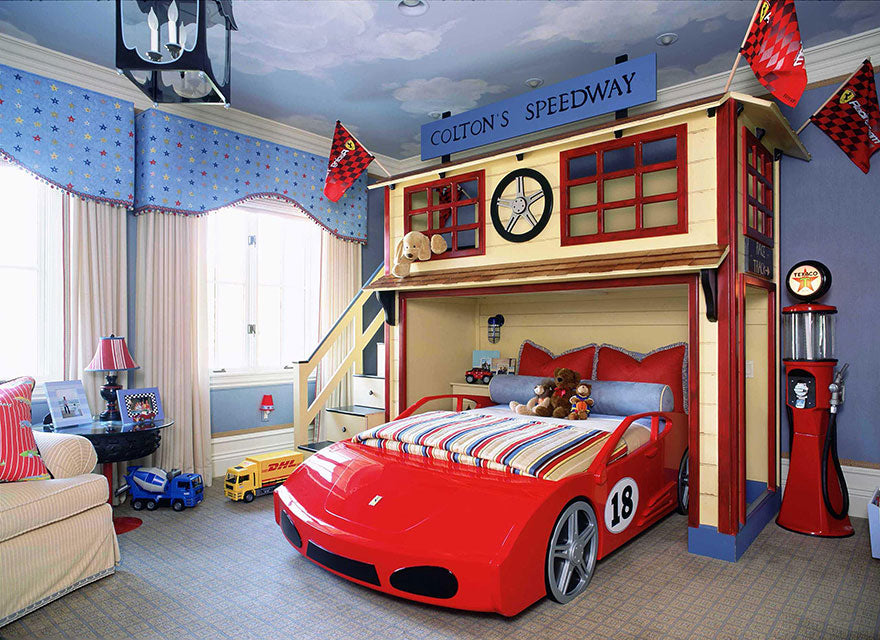 Red racing car speedway themed kids bedroom