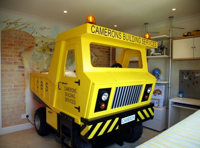 Yellow construction truck themed kids bed